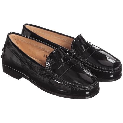 black loafers shoes tod s black patent leather loafer shoes childrensalon