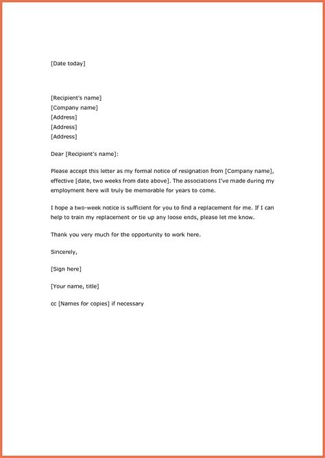 two weeks notice resignation letter sles