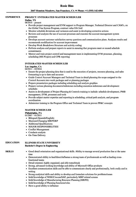 Resume Sle Of Instrument Technician master resume template 28 images master scheduler