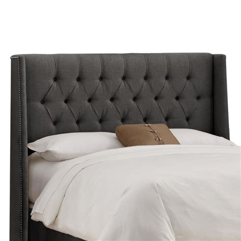 Upholstered Wingback Headboard by Tufted Nail Button Wingback Linen Upholstered Headboard Headboards At Hayneedle