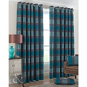 Teal Brown Curtains Chenille Stripe Eyelet Curtains Fully Lined Ring Top