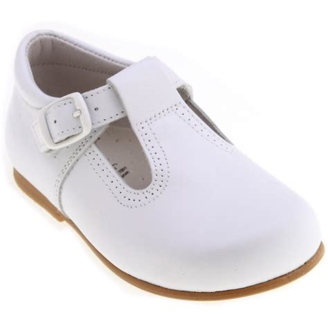 baby white leather t bar shoes cachet