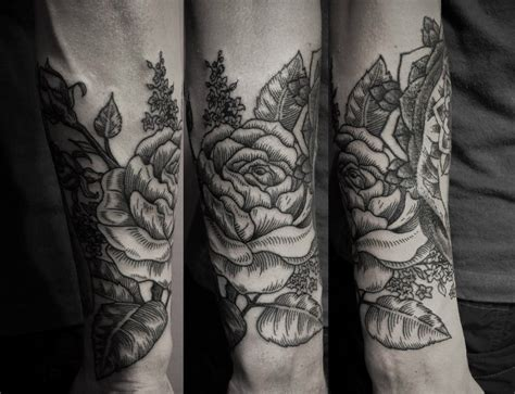 half sleeve rose tattoo by ien levin design of