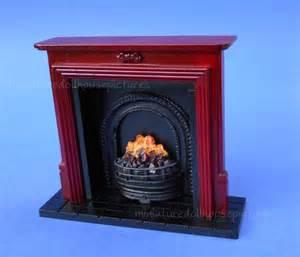 miniature dollhouse mahogany fireplace 1 12 scale new ebay