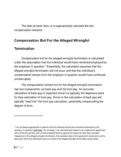 Agreement Letter To Pay For Damages Calculation Of Damages In Wrongful Termination Litigation