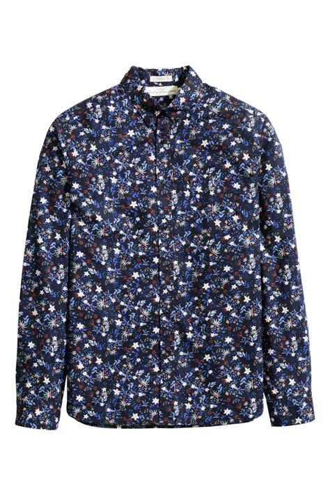 Hm Flower Top Bordir Fit L floral cotton shirt blue small floral sale h m us