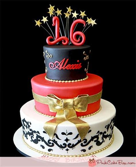 sweet 15/16 red, black, white, gold | sweet 15/16 cakes