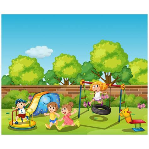 imagenes de niños jugando en un parque ni 241 os jugando en el parque descargar vectores premium