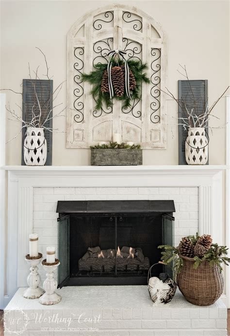 winter fireplace mantel  hearth mantles