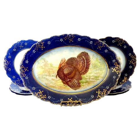 antique la belle turkey platter plates flow blue wheeling