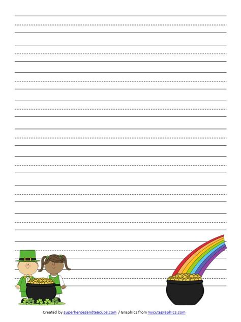 st patricks day writing paper st s day handwriting paper free printable