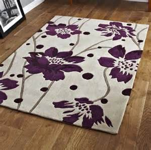 modern designer luxury cream purple floral pattern soft