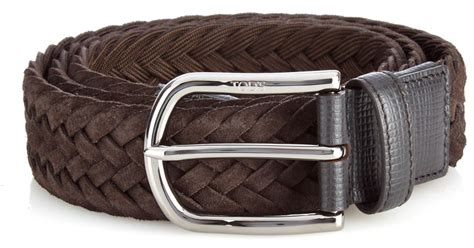 tod s woven suede belt in brown for lyst