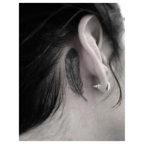 pen tattoo on ear cool fether tattoo behind ear by dr woo pinteres