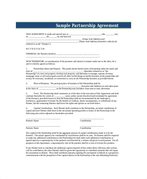 partnership agreement free template business partnership agreement 8 free pdf word