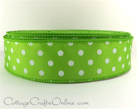wired ribbon 1 1 2 lime green with white polka dots
