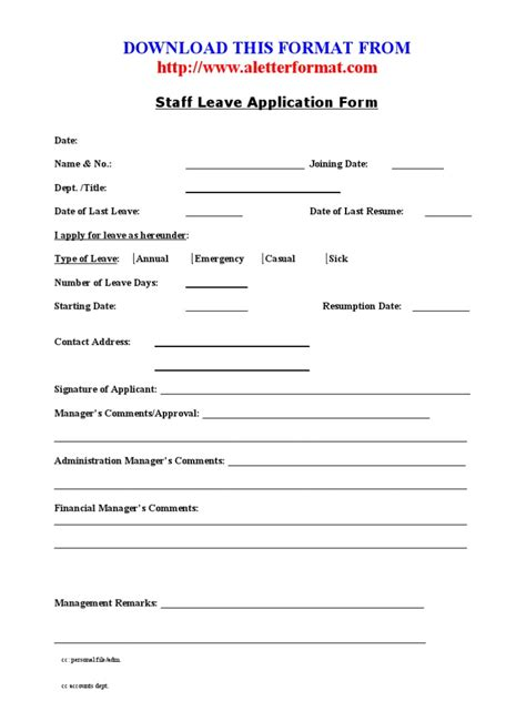 staff application template staff leave application form