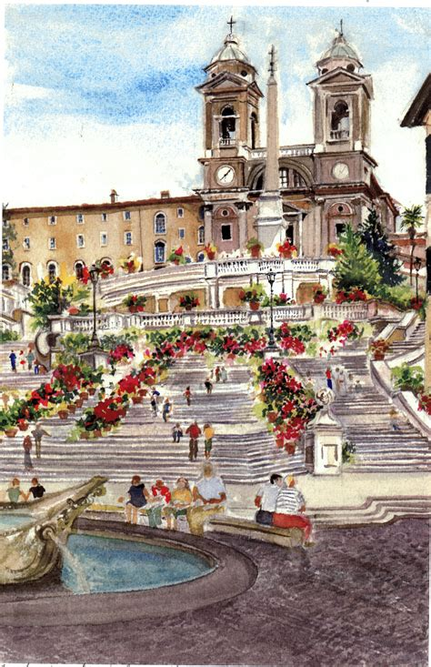 Sunflower Field spanish steps rome watercolors by
