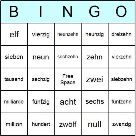 printable german numbers german numbers bingo cards printable bingo activity