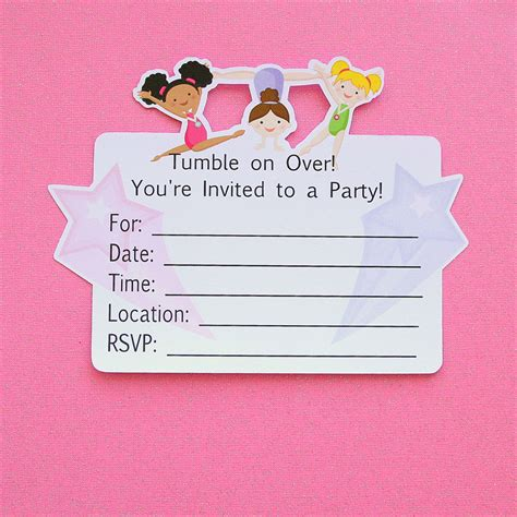 gymnastics birthday party invitations printable or by gymnastics party invitations set of 12 by paperpartyparade