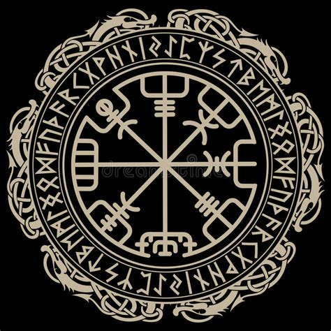 viking design magical runic compass vegvisir in the