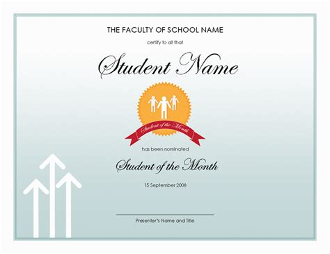 student of the month award free certificate templates in
