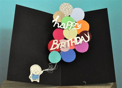 Birthday Pop Up Card Pop Up Birthday Card Balloons By Studiosmo On Etsy