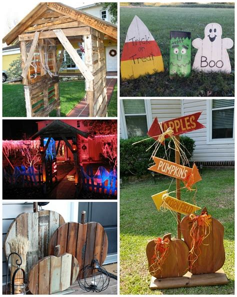 Fall Decorations For Outside The Home best halloween wood pallet decorations crafty morning