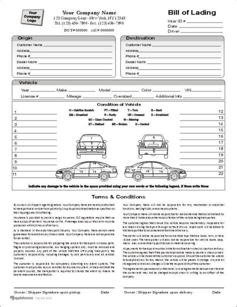Understanding Your Bill Of Lading 800 930 7417 Auto Transport Contract Template