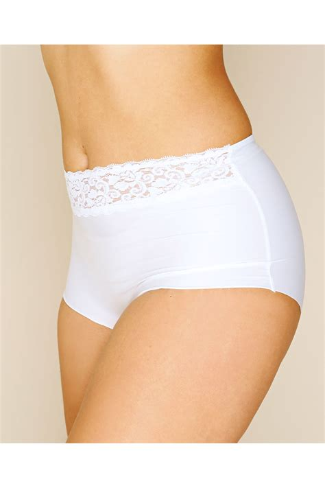 Pot Tawon No 27 white no vpl brief with lace waist trim plus sizes 16 to 32