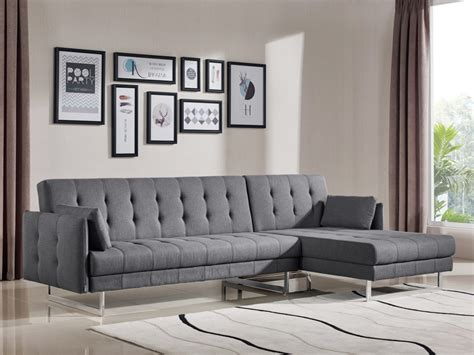 divani sofa bed divani casa lennox modern grey fabric sectional sofa bed