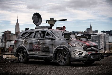 zombie survival truck hyundai santa fe zombie survival machine unveiled in new york