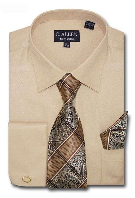 pattern shirt and tie combo c allen mens dress shirts tie hanky combo french cuff