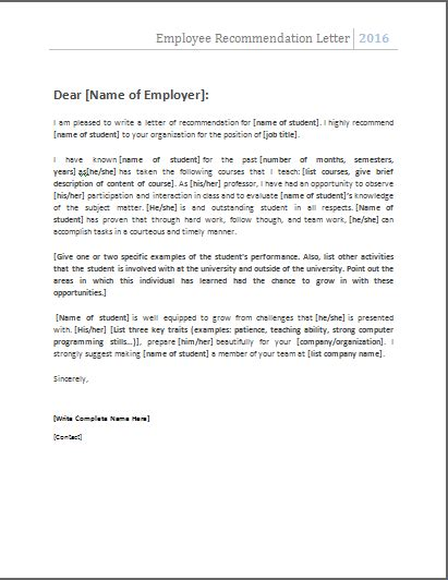 reference letter template for employee employee recommendation letter nats