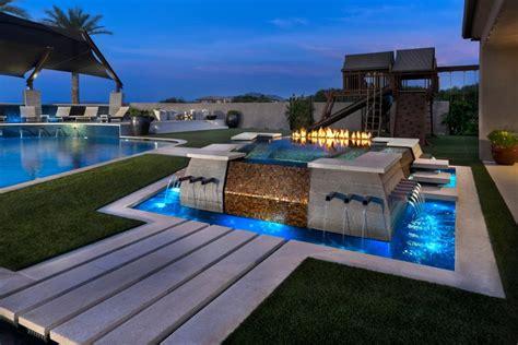 modern yard  pool pergola water feature steel