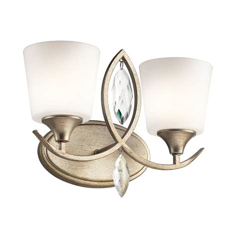 Gold Bathroom Vanity Lights Shop Kichler Casilda 2 Light 11 In Sterling Gold Cylinder Vanity Light At Lowes