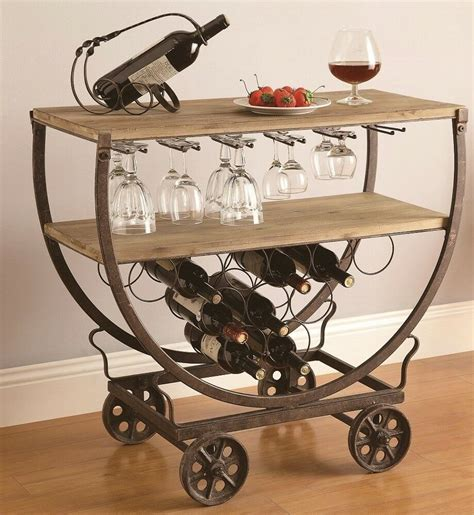 industrial wine bar cart rolling table rustic warehouse