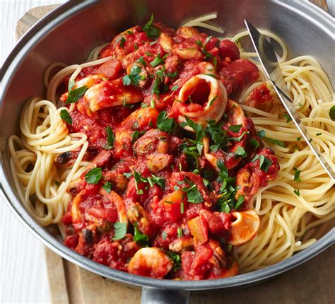 pasta recepies spaghetti with smoky tomato seafood sauce recipe bbc