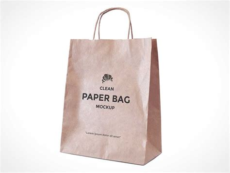 Simple Paper Bag - simple paper bag with carry handles psd mockup psd mockups