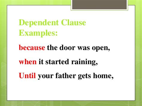 exle of dependent clause clauses