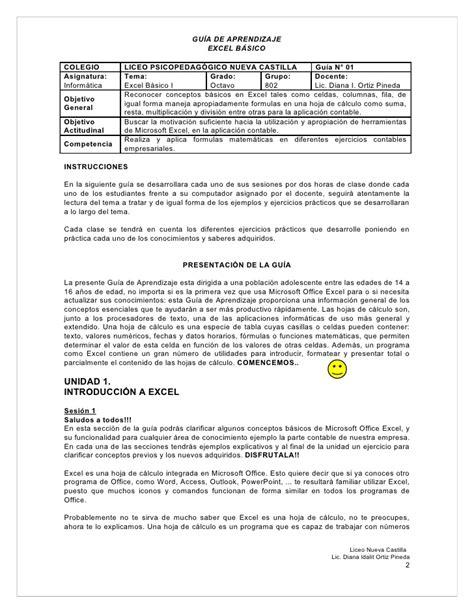 GUÍA DE APRENDIZAJE - EXCEL BÁSICO