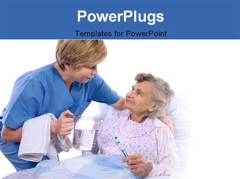nurse helps the senior woman in washing powerpoint