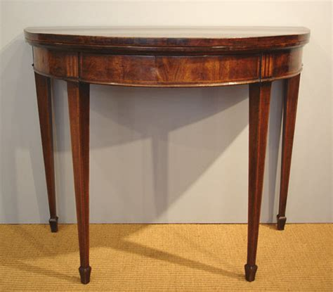 Antique mahogany card table / Georgian demi lune table