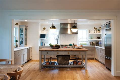 u shaped kitchen with freestanding butcher block top gray freestanding kitchen island with shelf and wood