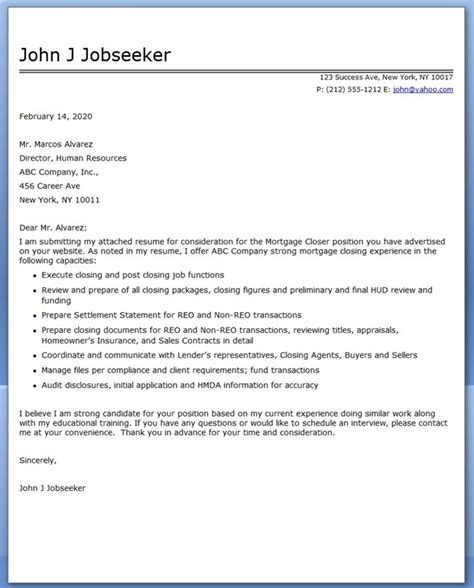 Mortgage Cover Letter Cover Letter For Mortgage Closer Resume Downloads