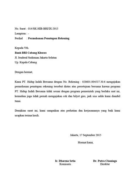 Contoh Surat Perintah Pt Duta Mandiri by Surat Penutupan Rekening Bank Bri Desain Grafis Digital