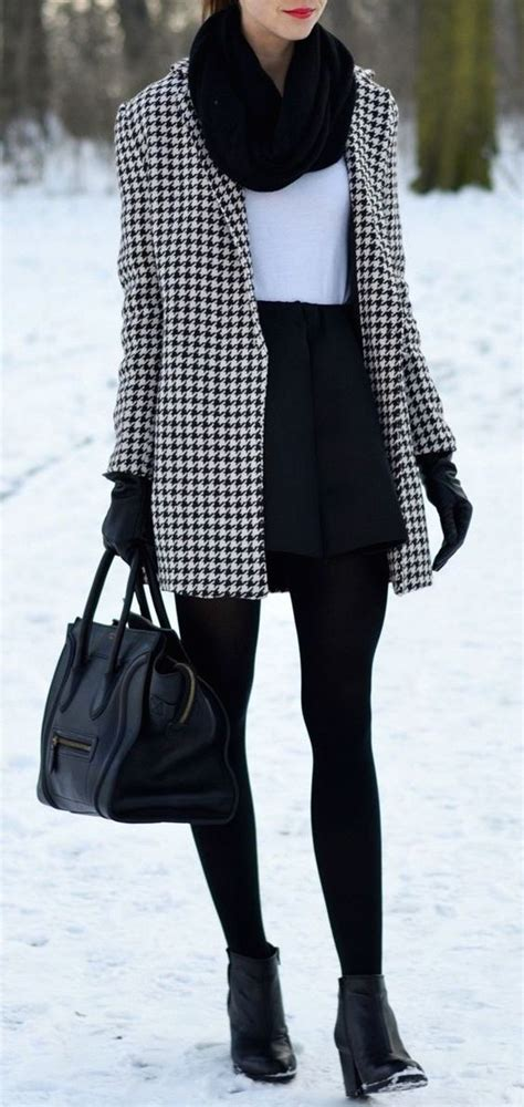 7 Favorite Winter Skirts by Winter Fashion Houndstooth Coat 2017 Fashiondivaly