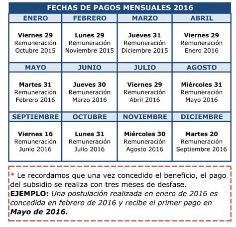 fecha de pago febrero 2016 ley 19990 calendario de pagos 2016 de los beneficios bono mujer