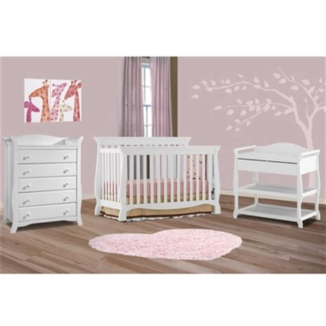 Storkcraft 3 Piece Nursery Set Venetian Convertible Crib White Crib And Changing Table Set