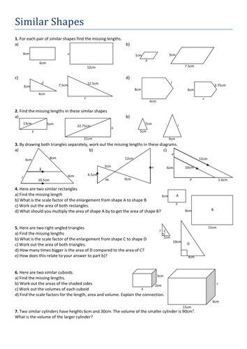 Similar Triangles Worksheet Pdf by Similar Shapes Worksheet By Tristanjones Teaching